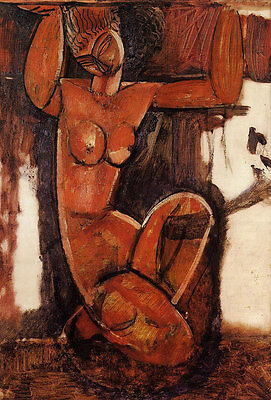 Oil painting amedeo modigliani - Caryatid abstract nude female portrait canvas