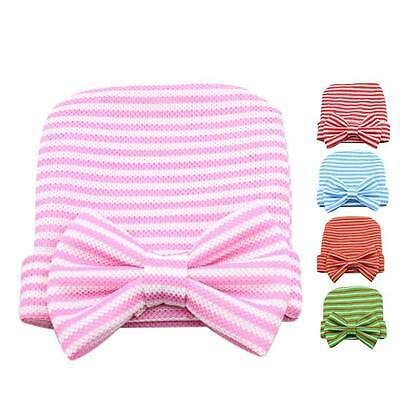 Newborn Cute creative Hat Stripe Bow Baby Girl Boy Hospital Hat Beanie With Bow