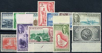 Barbados 1950 set of 12 SG271-282 Fine Very Lightly Mtd Mint (48c & $1.20 MNH)