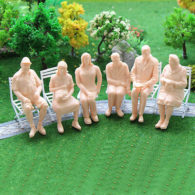 P2514 6pcs G scale Figures 1:25 All Seated Unpainted People Model Train Railway