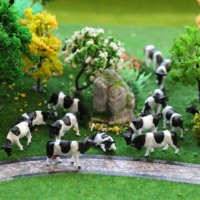 P8714 30 pcs HO Scale painted Farm Animals Cows 5 different poses Model Railway