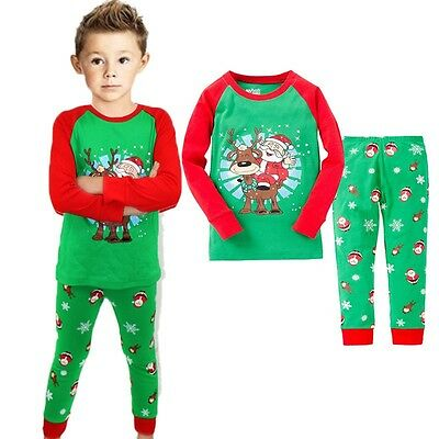 New Xmas Kids Boys Cotton Long Sleeve Pyjamas Baby Sleepwear Size 1.2.3.4.5.6