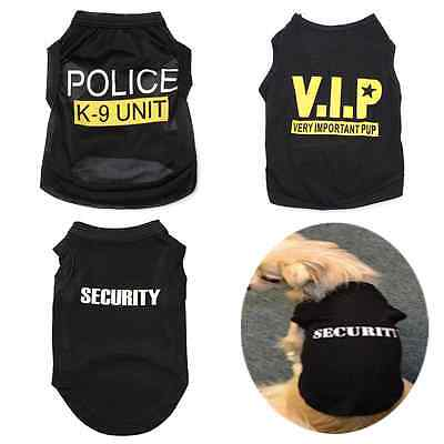Dog Vest Pet Puppy Cat Black T-Shirt Summer Clothes Coat Apparel Costumes Cool
