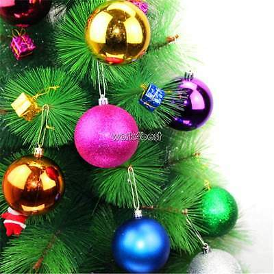 6 60Mm Christmas Tree Baubles Xmas Decoration Bauble Shatterproof Glitter Ball