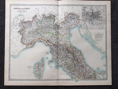 Large Map Of North Italy & Corsica . Genuine Antique By Keith Johnston 1898