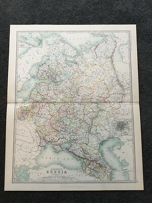 Large Map Of European Russia Genuine Antique By Keith Johnston 1898