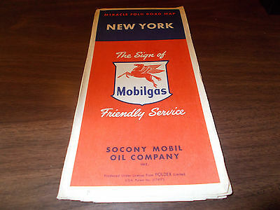 1956 Mobil New York Vintage Road Map