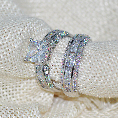 Womens Princess Cut CZ White Gold Filled Wedding Ring Set Engagement Band Sz6-10