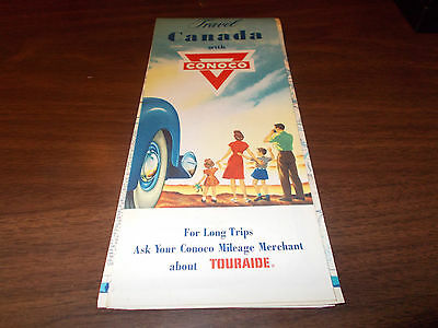 1955 Conoco Canada Vintage Road Map