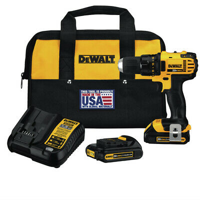 "DEWALT 20V MAX Li-Ion 1/2"" Compact Drill Driver Kit DCD780C2 Reconditioned"