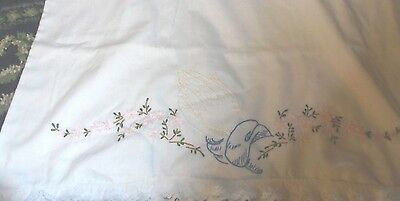 Pair of religious praying hands lace trim standard size embroidered pillowcases