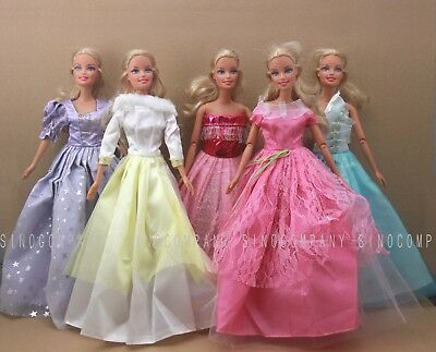 New Xmas Gift 5x Handmade Dress Party Gown Clothes Outfits For Barbie Doll Toys