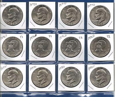1973-1978 PD BU Eisenhower IKE Dollars Uncirculated- Includes 1976 Type 1 and 2