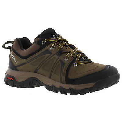 Salomon Evasion Mens Brown Leather Walking Trainers Shoes