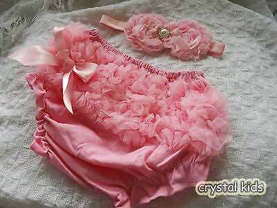 Baby Girls Reborn Pink Frilly Pants & Headband 2 Sizes