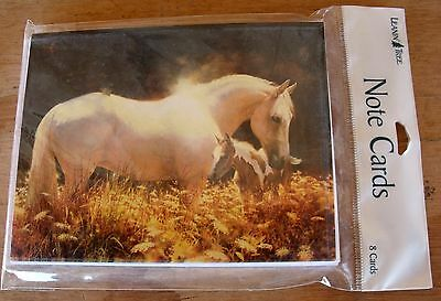 New LEANIN' TREE 8 Note Cards & Env White Horse in Golden Field #BTN35469