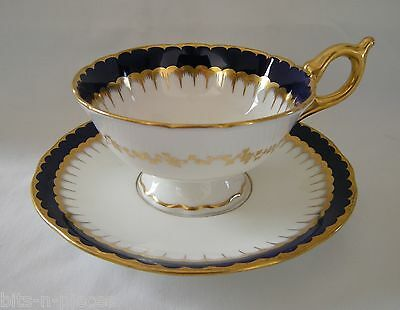COALPORT Antique English   SPEARPOINT COBALT & GOLD  cup  & saucer set