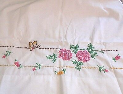 Pair of pink roses & butterflies chic set standard size embroidered pillowcases