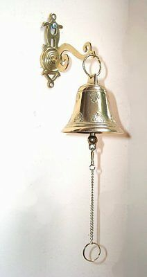 G80: Ship's Bell, bell chain necklace, Wall bell with bracket, Polished brass