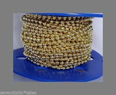 200 Feet 3.2mm Brass Plated BALL Chain (#6 size)  + 100 Connectors ~ BULK Spool
