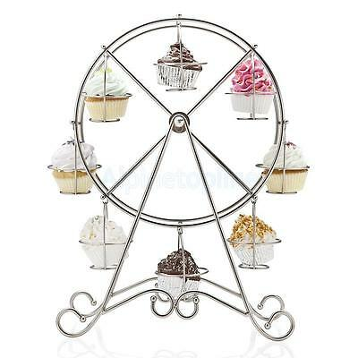8-Cup Rotating Cupcake Stand Stainless Steel Ferris Wheel Dessert Stand Holder