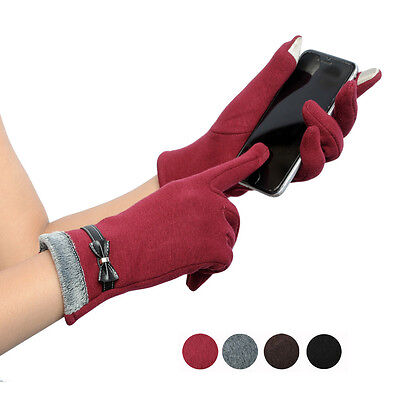 Fashion Women Gloves Leather Touch Screen Winter Warm Sports Gloves Mittens NEW