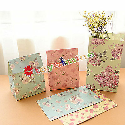 3/9/12pcs Flowers Floral Paper Gift Bag Xmas Party Holiday Cookies Bag +Sticker