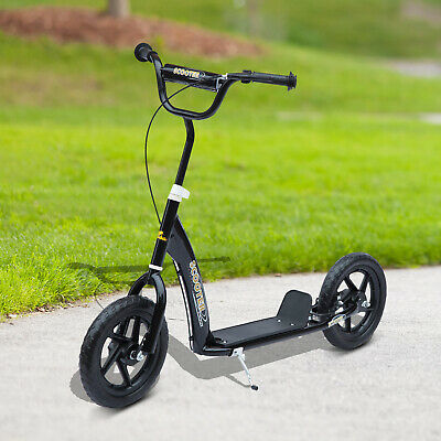 "Qaba Kids Air Tire Scooter Bike Ride Bicycle Children On 12"" Tyres Push Black"