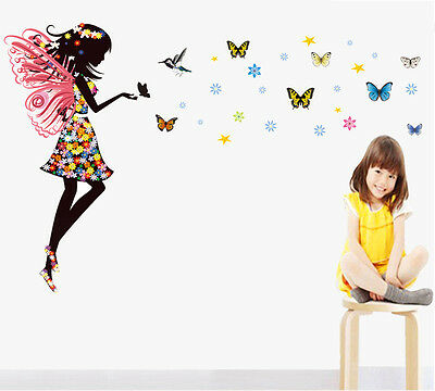 Beautiful Fairy Butterflies Wall Art Sticker Vinyl Mural Decals Girls Room Decor