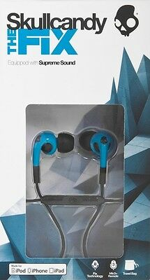 Skullcandy The Fix Hot Blue & Black In-Ear Headphones with Microphone
