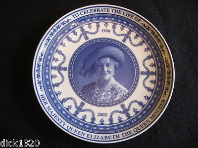 """WEDGWOOD/QUEENSWARE 9"""" PLATE COMMEMORATIVE PLATE CELEBRATE the LIFE of QUEEN MUM"""