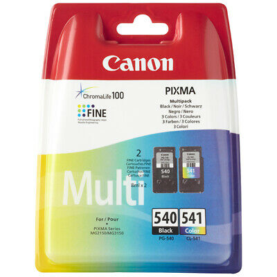 Genuine Canon PG540 Black & CL541 Colour Ink Cartridges for Pixma MG3250 MG3500
