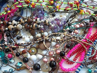127 pc necklace lot,beads,chains,pendants,wear,crafts,good pre-own cnd,JAPAN,NY+