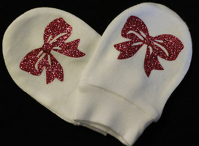 Baby Girl Pink Glitter Bling Bling Mitts  White Cotton Scratch Mittens Newborn