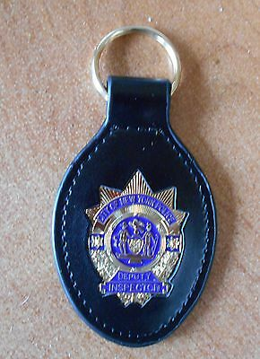 NYC Police Leather Key Ring w/NYPD Deputy Inspector Gold Color Novelty item