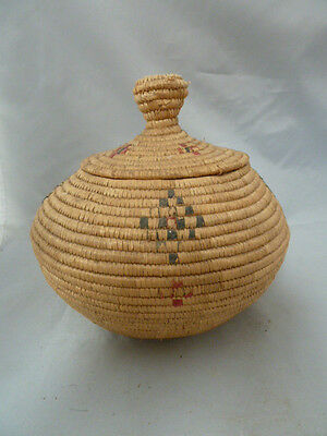 """Native American Weave Covered Bowl. Very Nice Design. Approx 7.5"""" T X 7"""" Diam"""