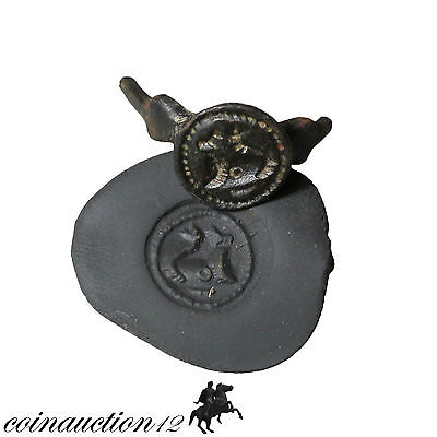 Superb Ancient Or Medieval Zoomorphic Seal Head Of Ring
