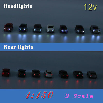 12PCS 1:150 N Scale Model Lighted Cars With 12V LEDs Lights for Building Layout