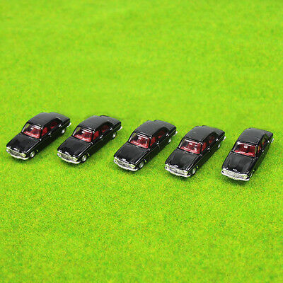 5PCS Model Cars Black 1:100 TT HO Scale for Building Railway Train Scenery NEW