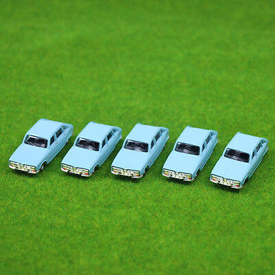 5PCS Model Cars Blue 1:100 TT HO Scale for Building Railway Train Scenery NEW