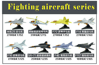 8pcs 4D Model Kit Plane Fighter Aircraft 1:150 N Z Scale Layout BOX SET NEW