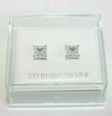 New 925 Sterling Silver 5mm Square Created Diamond Stud Earrings Made in UK