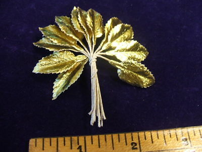 "Vintage Millinery Flower 1"" Leaf Lot of 12 Gold Foil Doll Size Trim for Hat Z2"