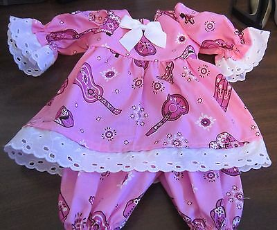 "Pink Bandana Print Dress/Bloomers Fits 17"" Lee Middleton, 15"" AG Bitty Baby"