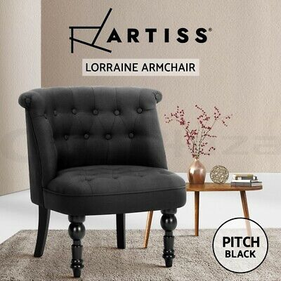 Lorraine Chair Sofa Lounge Tub Accent Occasional French Provincial Fabric Black