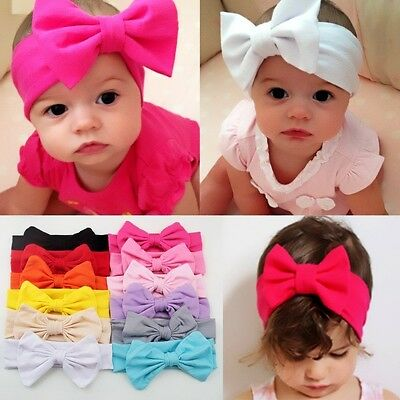 Girls Kids Baby Cotton Bow Hairband Headband Lovely Turban Knot Head Wrap Flower
