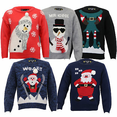 Boys Christmas Girls Jumper XMAS Kids Santa Snowman Knitted Reindeer 3D Novelty