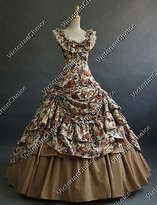 Southern Belle Victorian Floral Dress Marian Theatre Women Halloween Costume 081