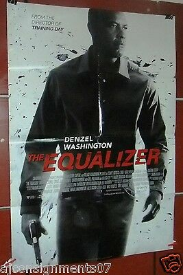"THE EQUALIZER {DENZEL WASHINGTON} Double Side 40x27"" Original Movie Poster 2000s"