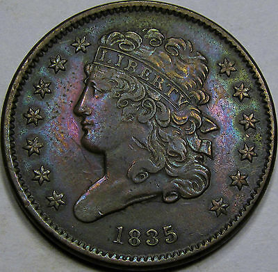1835 Classic Half Cent Choice AU+... Nice coin! Neat Under lying Tone! Pretty!!!